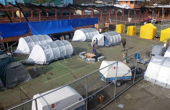 Basläger i Tacloban under uppbyggnad. Foto: MSB